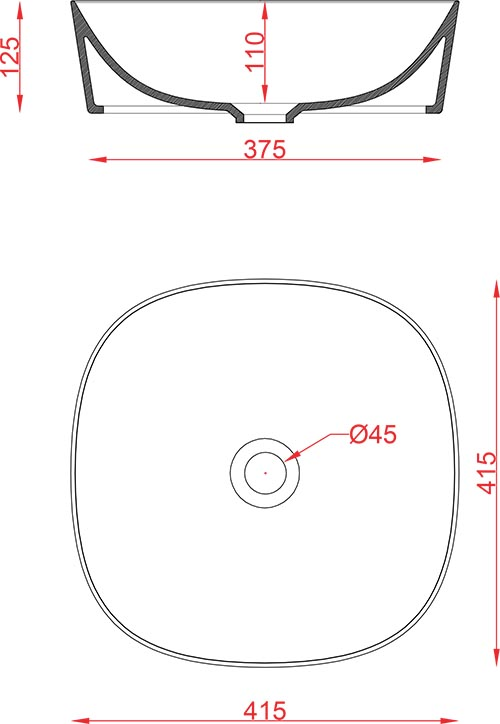 Schéma vasque carrée 42cm x 42cm à poser Ghost Artceram