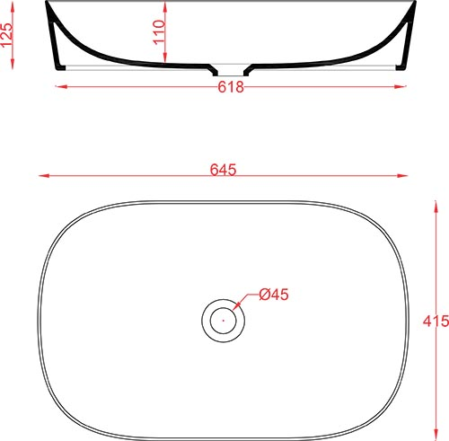 Schéma vasque rectangle 65cm x 42cm à poser Ghost Artceram