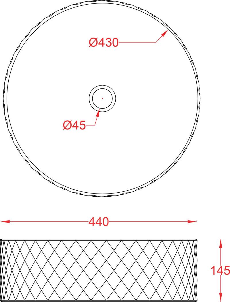 Schéma vasque ronde 44cm à poser Rombo Artceram