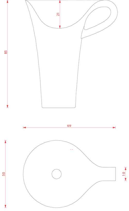 Vasque colonne design Cup d'Artceram - Schéma des dimenions