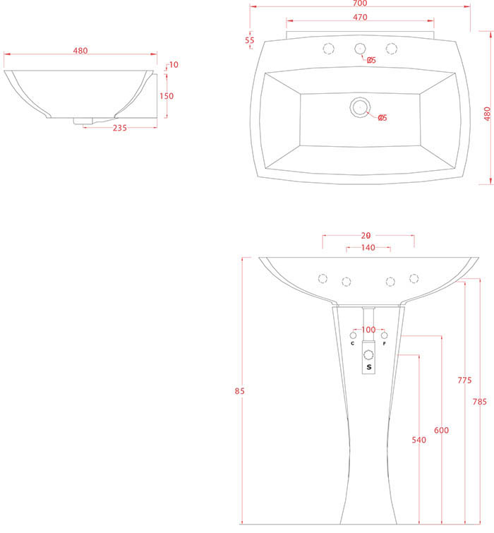 Vasque colonne design Jazz 70 d'Artceram - Schéma des dimenions