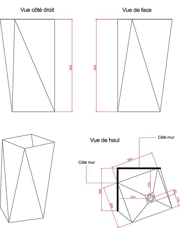 Vasque colonne design Sharp d'Artceram - Schéma des dimenions